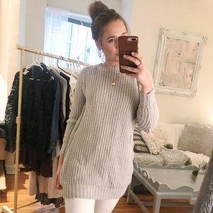 Grey Knit Tunic Sweater